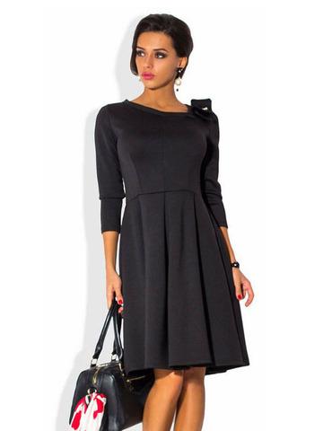 Платье миди с бантом, черное