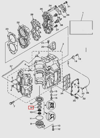 Сальник коленвала для лодочного мотора T40 Sea-PRO (2-9)