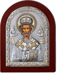 Серебряная икона Николая Чудотворца (прозрачный лак, повышенное качество!)