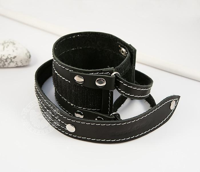 BL425-1 Мужской браслет напульсник из кожи, ручная работа, «Boroda Design» фото 03