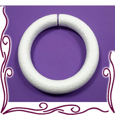 Венок кольцо из пенопласта 24 см, округлое, 1 шт.