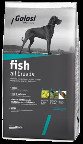 Сухой корм GOLOSI FISH ALL BREEDS для взрослых собак всех пород с рыбой и рисом, 12 кг.