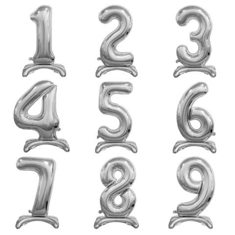Цифры Серебряные на подставке
