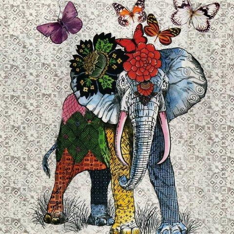 Детская портьерная хлопковая ткань Слон и Бабочки