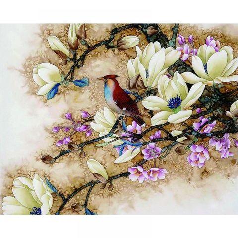 Алмазная Мозаика 30x40 Птица на ветке с цветами