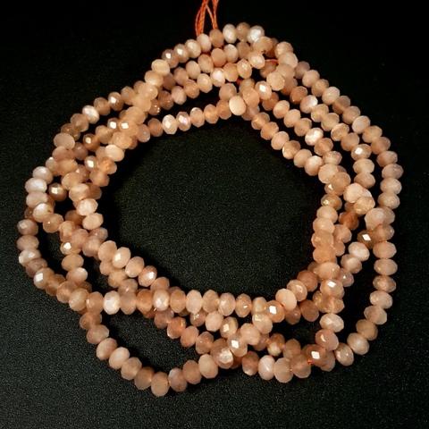 Бусина лунный камень персиковый АА рондель граненый 4,3х3 мм 8 бусин