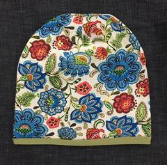 Детская шапочка из хлопкового трикотажа с принтом Цветы