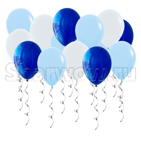 Воздушные шары с гелием под потолок Белый, синий зеркальный, голубой