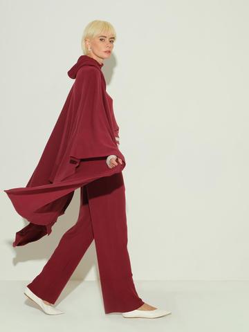 Женский шарф бордового цвета из 100% шерсти - фото 2