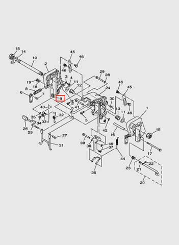 Шайба-плошадка зажима струбцины  для лодочного мотора T15, OTH 9,9 SEA-PRO (13-9)