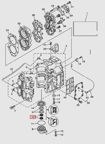 Сальник коленвала для лодочного мотора T40 Sea-PRO (2-10)