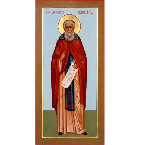 Икона святой Александр Свирский в рост на дереве на левкасе
