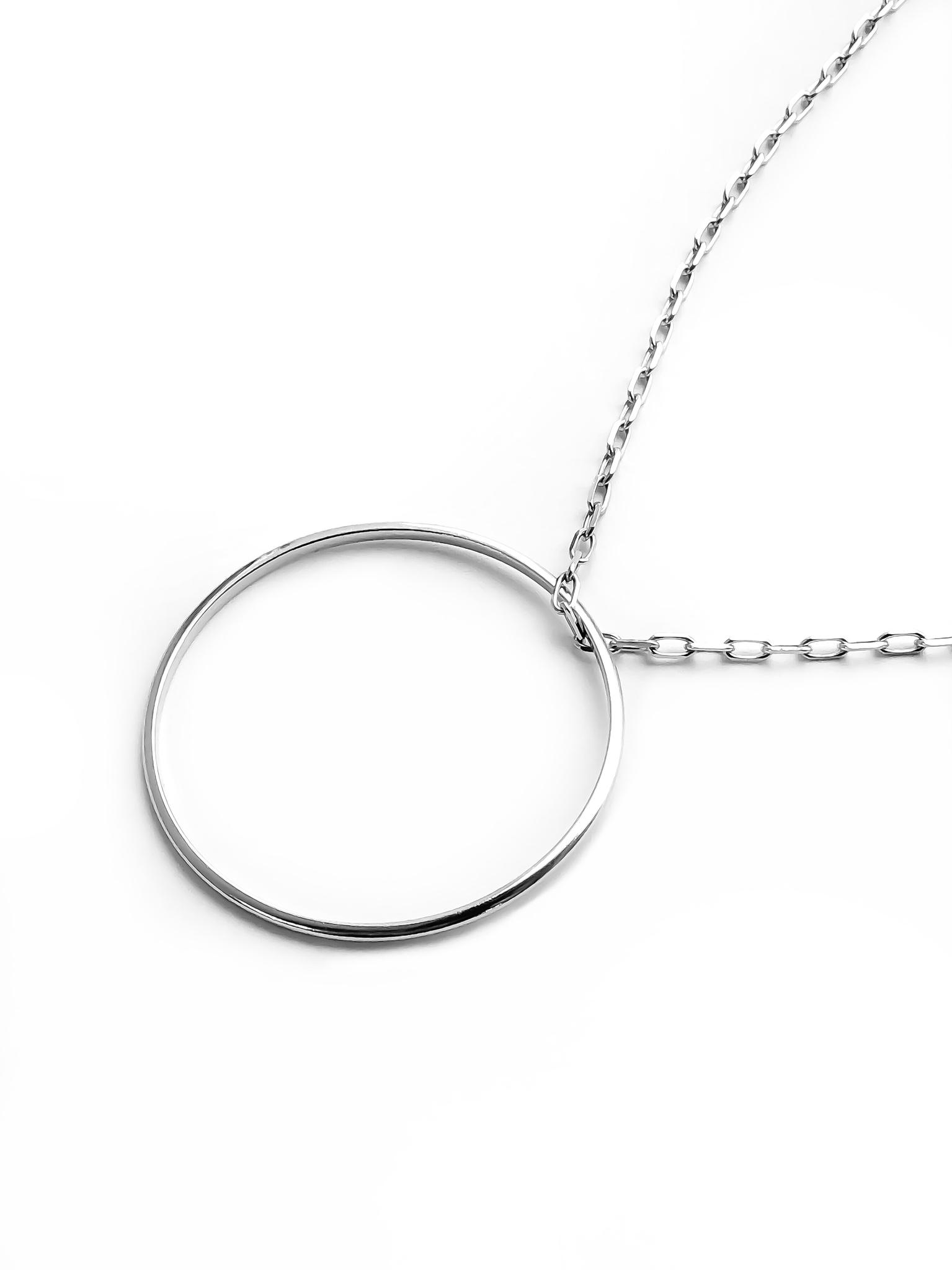 Серебряное колье с кольцом на длинной цепочке, 40 мм
