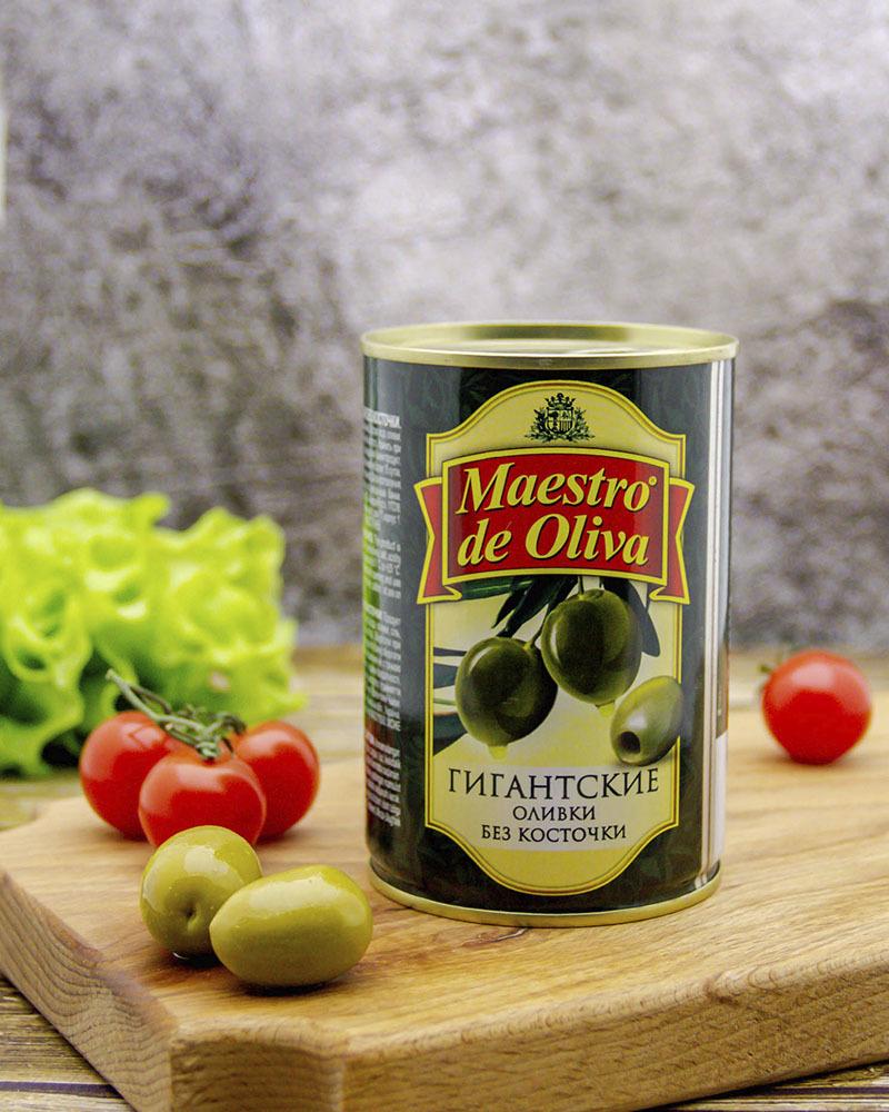 Оливки Maestro de Oliva Гигантские без косточки 410 гр.
