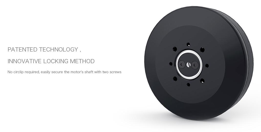 В моторах T-Motor U8 Pro применён инновационный запатентованный метод крепления вала без стопорного кольца