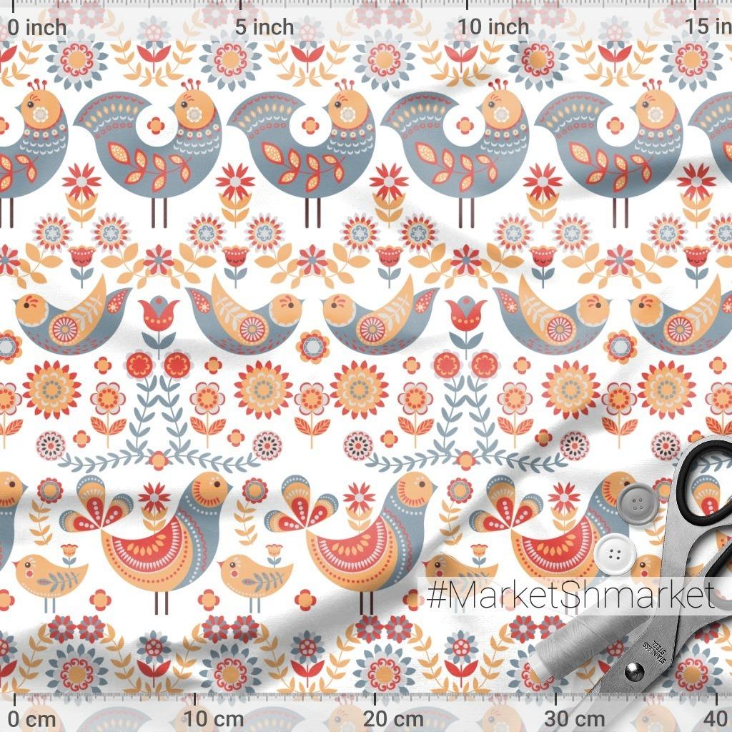 Птицы с орнаментами на белом фоне. Скандинавский стиль. (Дизайнер Irina Skaska)