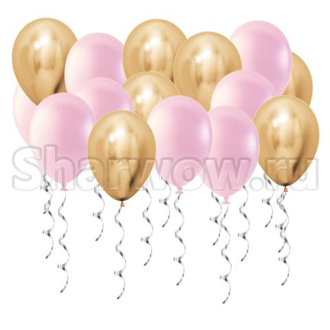 Воздушные шары под потолок Золото хром и розовый перламутр