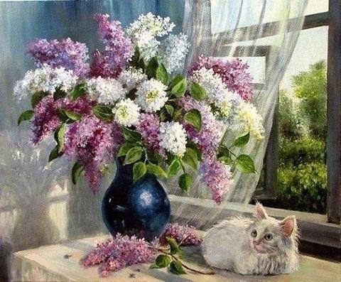 Алмазная Мозаика 30x40 Белый котенок у окна (Арт. GB70509 )