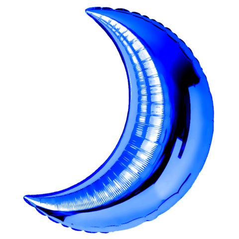 Шар-полумесяц синий, 71 см