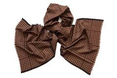 Шарф из шелка и шерсти коричневый в клетку 01331