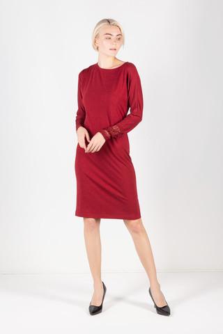 Фото красное платье по фигуре с кружевными манжетами - Платье З306-491 (1)