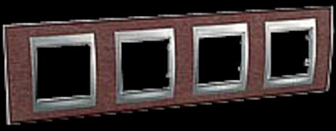 Рамка на 4 поста. Цвет Табачное дерево-алюминий. Schneider electric Unica Top. MGU66.008.0M4