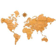 Карта Мира из дерева Yellow фото 1