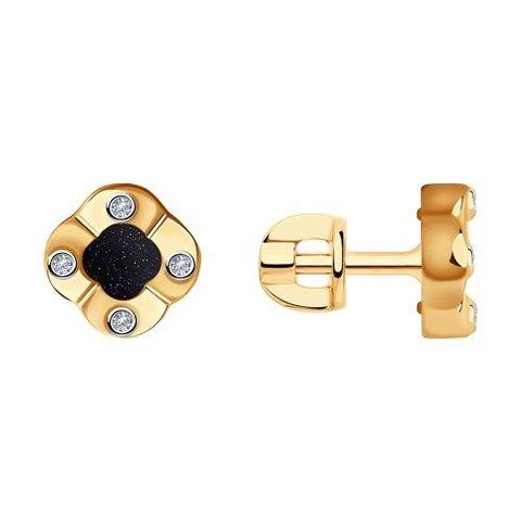 1021609 - Серьги из золота с бриллиантами и авантюриновым стеклом
