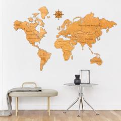 Карта Мира из дерева Yellow фото в интерьере