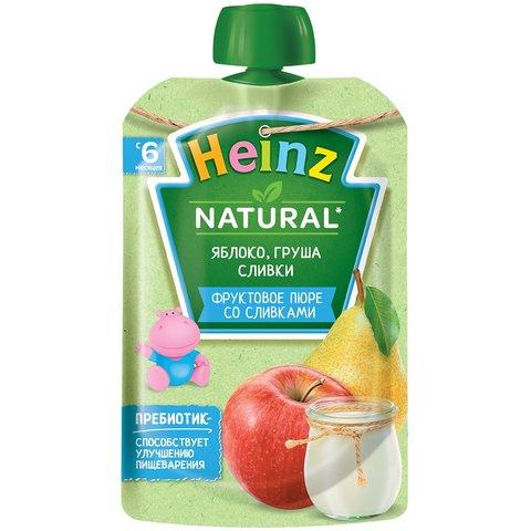 Пюре Heinz яблоко, груша, творог пауч 90 гр. (6+ мес.)