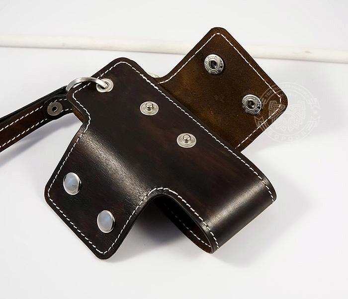 KK407-2 Мужская кожаная ключница ручной работы с ремешком фото 05