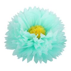 Бумажный цветок 40/15 см мятный-желтый