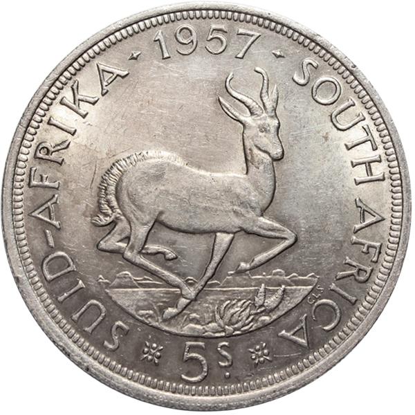 5 шиллингов. Южная Африка. Серебро. 1957 год. XF-AU