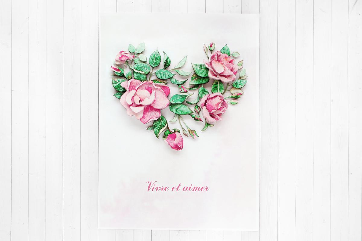Папертоль Цветочное сердце - готовая работа, фронтальный вид