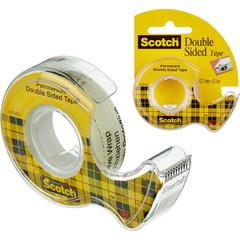 Скотч Клейкая лента канцелярская Scotch прозрачная двусторонняя 12 мм x 6.3 м (с диспенсером)