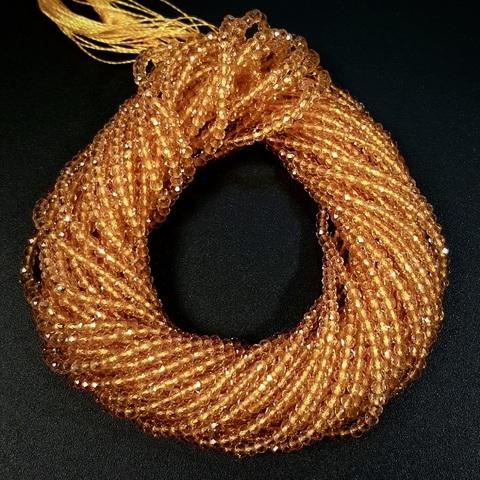 Бусины шпинель (имитация) граненая 2 мм цвет золотистый цена за 185 бусин (~37 см)
