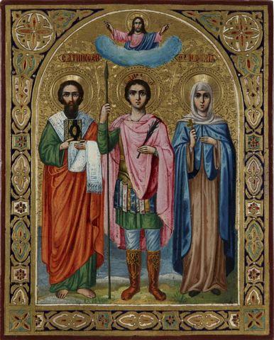 Икона святые Апостол Тимофей, Дмитрий Солунский и святая Анисья на дереве на левкасе
