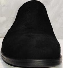 Черные замшевые лоферы туфли без шнурков мужские Ikoc 3410-7 Black Suede.