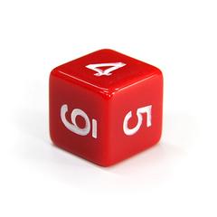 Куб D6: Красный 16мм с цифрами