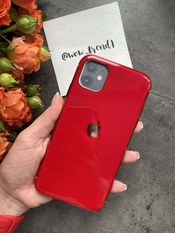 Чехол Iphone 11 Glass Silicone Case Logo /red/