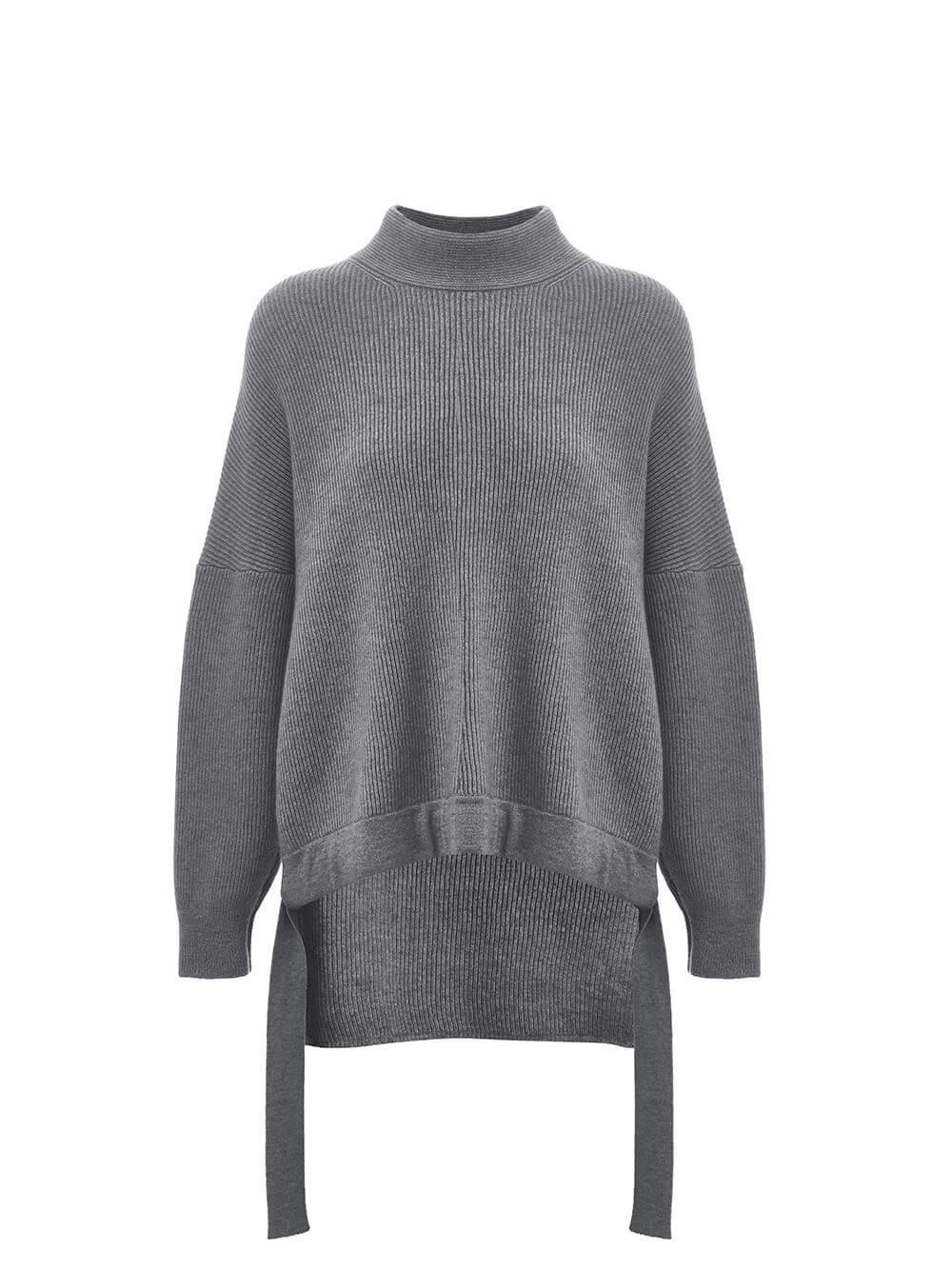Женский свитер темно-серого цвета из 100% кашемира - фото 1