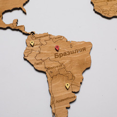 Карта Мира из дерева Yellow фото 4