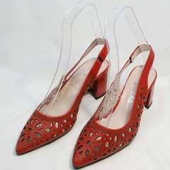 Летние кожаные туфли женские на каблуке G.U.E.R.O G067-TN Red.