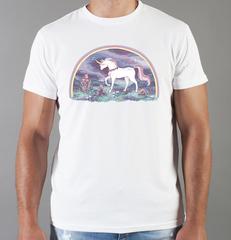 Футболка с принтом Единорог (Unicorn) белая 0054