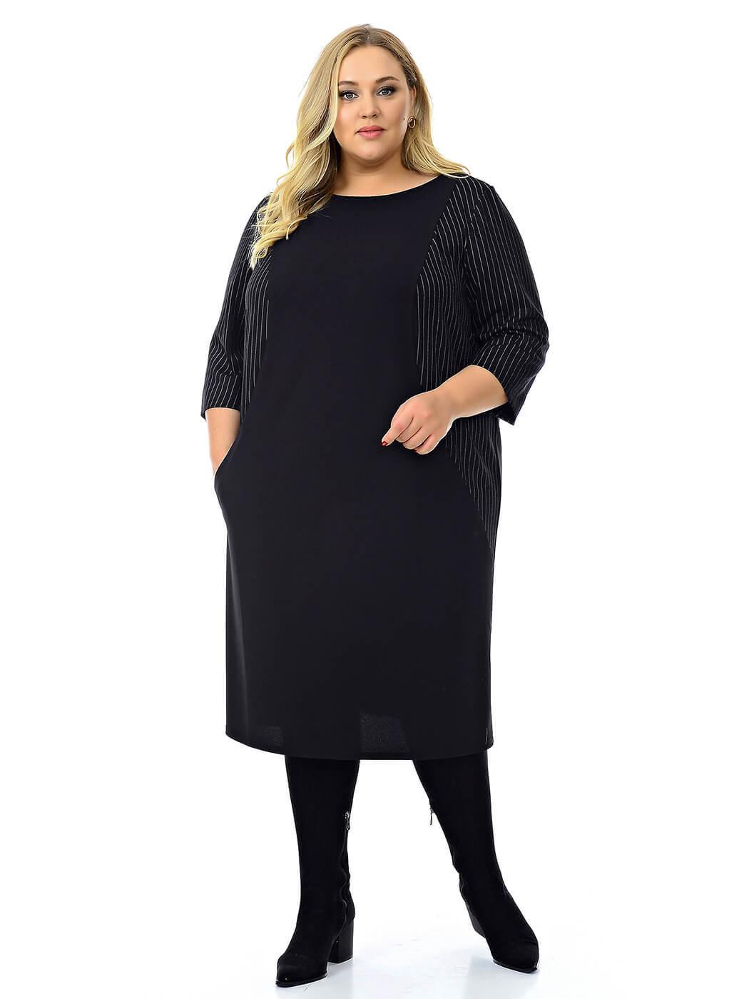 Офисное черное платье для полных