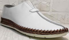 Красивые туфли слипоны мужские белые стиль casual летние Luciano Bellini 91724-S-304 All White.