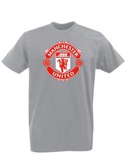 Футболка с принтом FC Manchester United (ФК Манчестер Юнайтед) серая 001