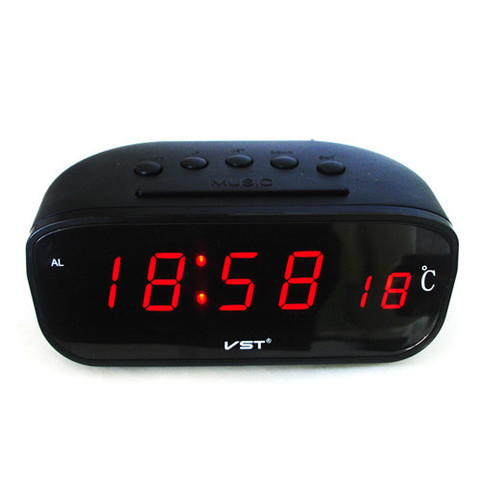 Часы сетевые 803-1 + термометр, красные