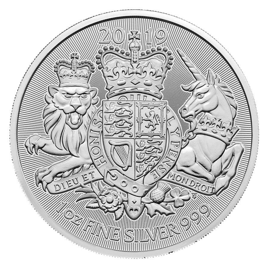 2 фунта. Королевский герб - Лев и Единорог. Великобритания. 2019 год
