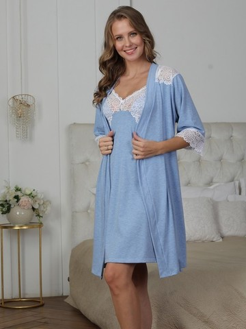 Vivamama. Комплект для беременных и кормящих Olivia, голубой меланж